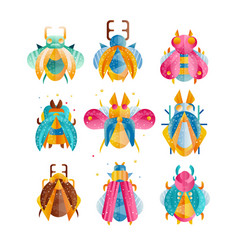 flat set beetles with bright wings vector image