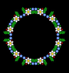 Floral circle pattern on dark background vector