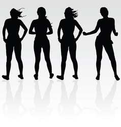 Girl four silhouette black vector