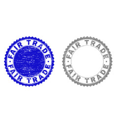 Grunge fair trade scratched stamps vector