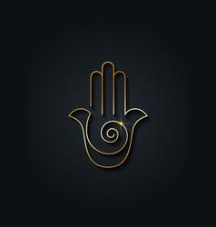 hamsa hand spiral icon gold line art logo design vector image
