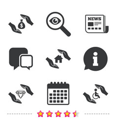 Hands insurance icons money savings sign vector