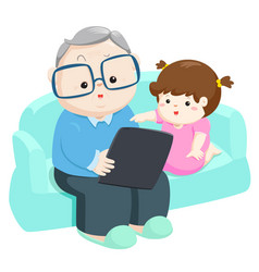 Happy granddaughter play tablet with grandfather vector