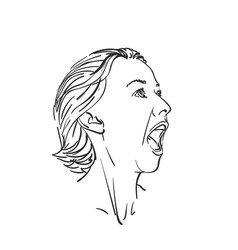 head screaming girl with wide open mouth vector image