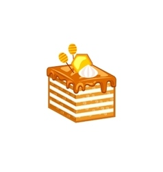 Honey cake isolated on white background vector