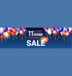 Horizontal poster with sale for veteran day vector