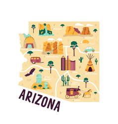 ilustrated map arizona state usa with famous vector image