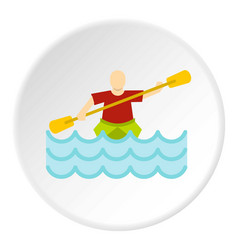 Kayaking water sport icon circle vector