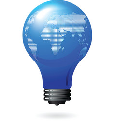 light bulb with world map vector image