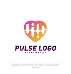 love heart pulse logo design concept people beat vector image