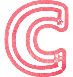 lowercase letter c drawing with Red Marker vector image