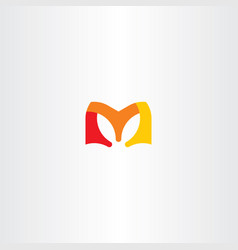 m letter red orange yellow logo vector image