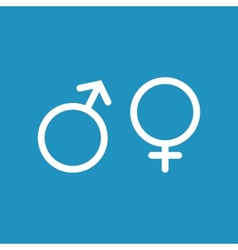 Male and female white icon on blue background vector image