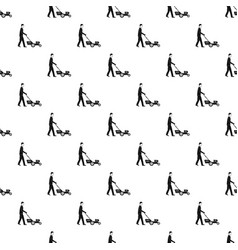 Man hold lawn mower pattern seamless vector