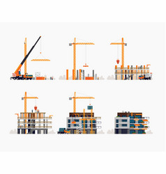 modern residential building construction process vector image