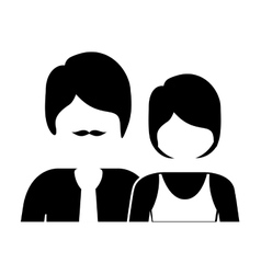 monochrome silhouette with half body couple vector image