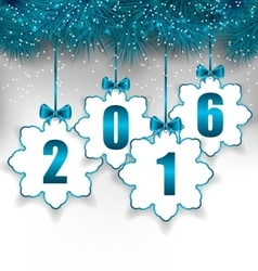 New Year Paper Snowflakes with Bows vector