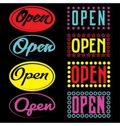 Open neon sign vector