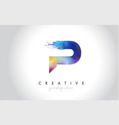 p paintbrush letter design with watercolor brush vector image