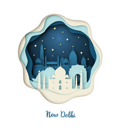 paper art of new delhi origami concept vector image