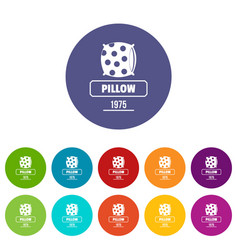 pillow icons set color vector image