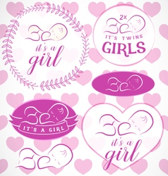 Pink Baby Girl Badge Set vector