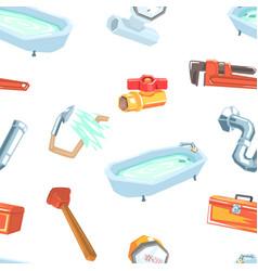 plumbing repair service equipment seamless pattern vector image