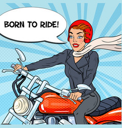 Pop art biker woman in helmet riding a motorcycle vector