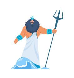 Poseidon or neptune greek god bearded man vector