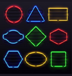 realistic glowing neon frames vivid electric vector image