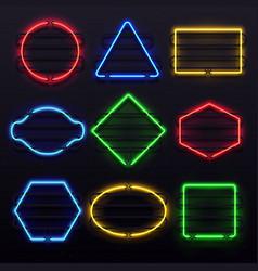 realistic glowing neon frames vivid electric vector image