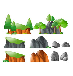 Rocks and cliff set vector