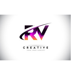 Rv r v grunge letter logo with purple vibrant vector