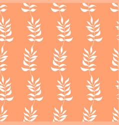 seamless pattern of white autumn leaves on orange vector image