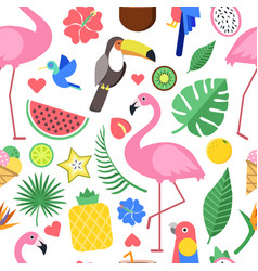 seamless pattern with various pictures of tropical vector image