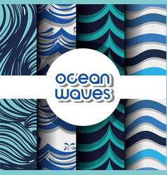 Set different ocean waves shapes background vector