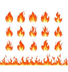 set fire flame emoji vector image