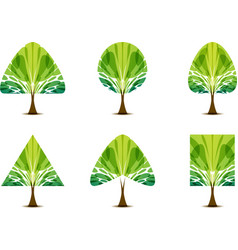 set green tree icon with different crown shape vector image