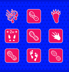 Set human footprints shoes alligator crocodile vector