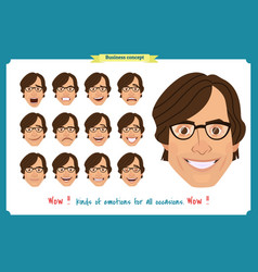 Set male facial emotions man emoji vector