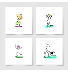 set of four marker hand drawing sketch doodle vector image