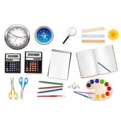 set of school supples back to school vector image