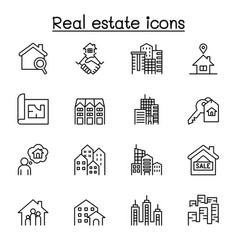 set real estate related line icons contains vector image