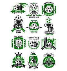 Soccer sports bar football pub icons vector