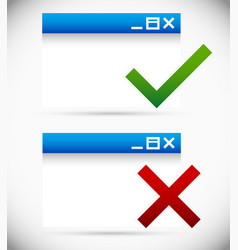 Software application window with checkmark and vector