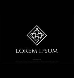 Square elegant luxury flower line pattern logo vector