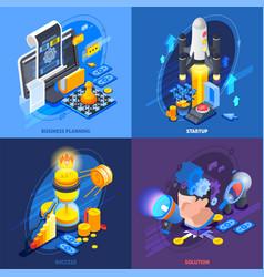Startup entrepreneurship isometric icons concept vector