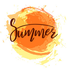 summer lettering on the orange sun vector image