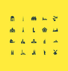 Tourism icons set with alcatraz piazza del campo vector