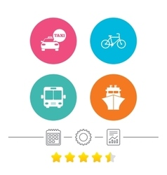 Transport icons Taxi car Bicycle Bus and Ship vector